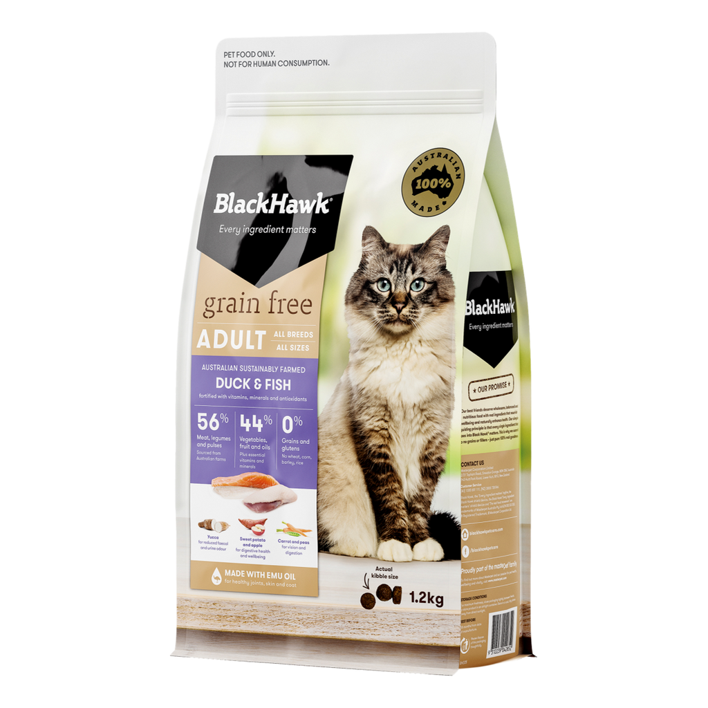 Black Hawk Grain Free Duck & Fish Cat Food
