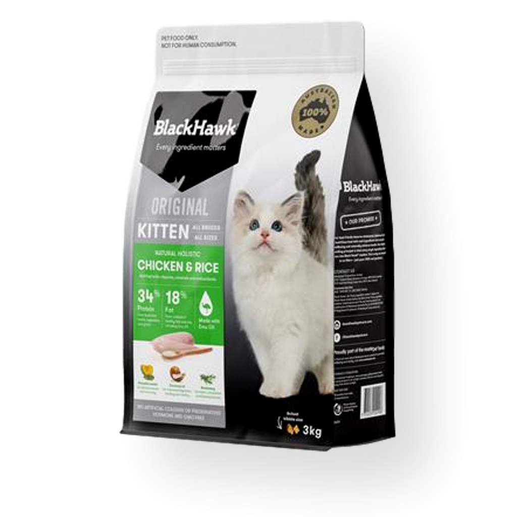 Black Hawk Chicken & Rice Kitten Food 3kg