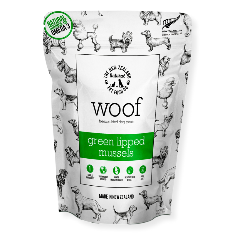 Woof Green Lipped Mussel Treats 50g