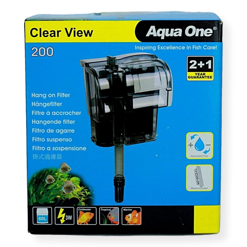 Aqua One H200 Clear View Hang On Filter 200L/hr