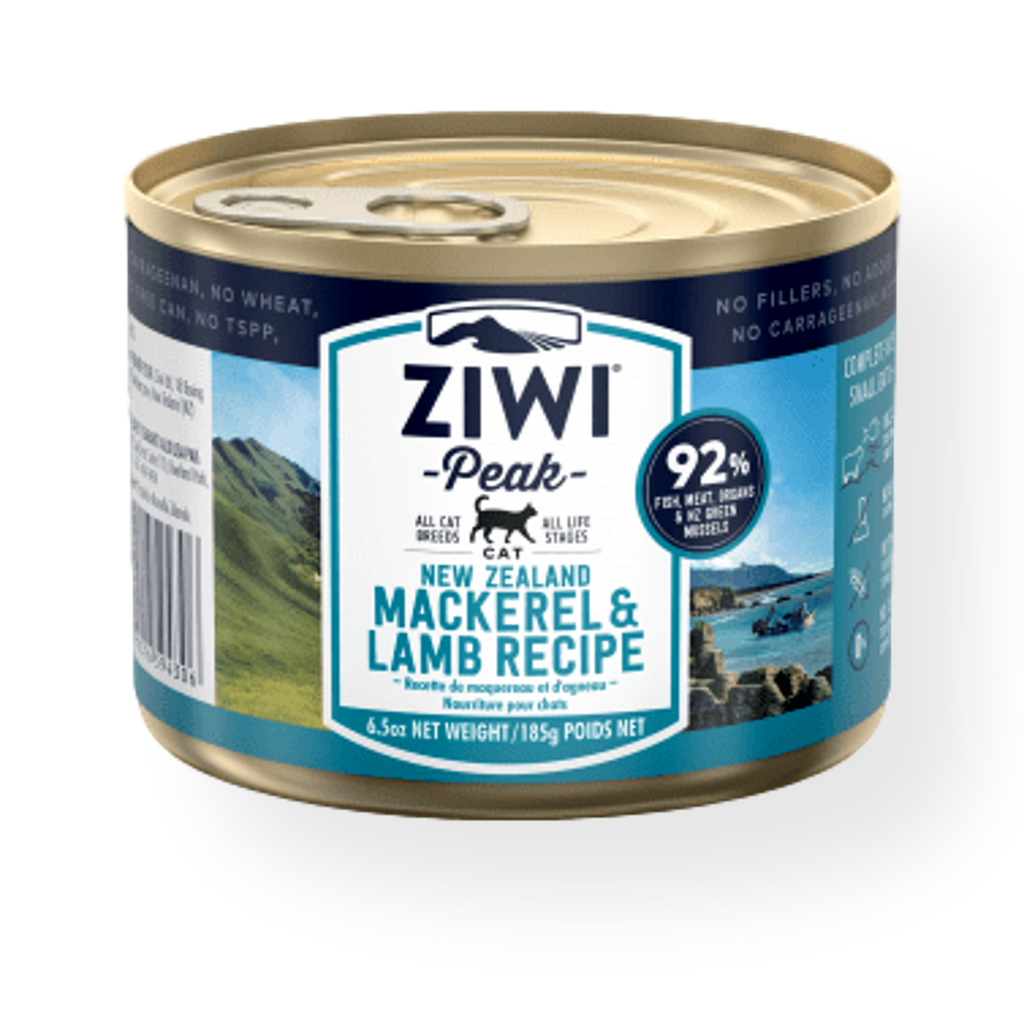 Ziwi Peak Canned Mackerel And Lamb Cat Food 185g
