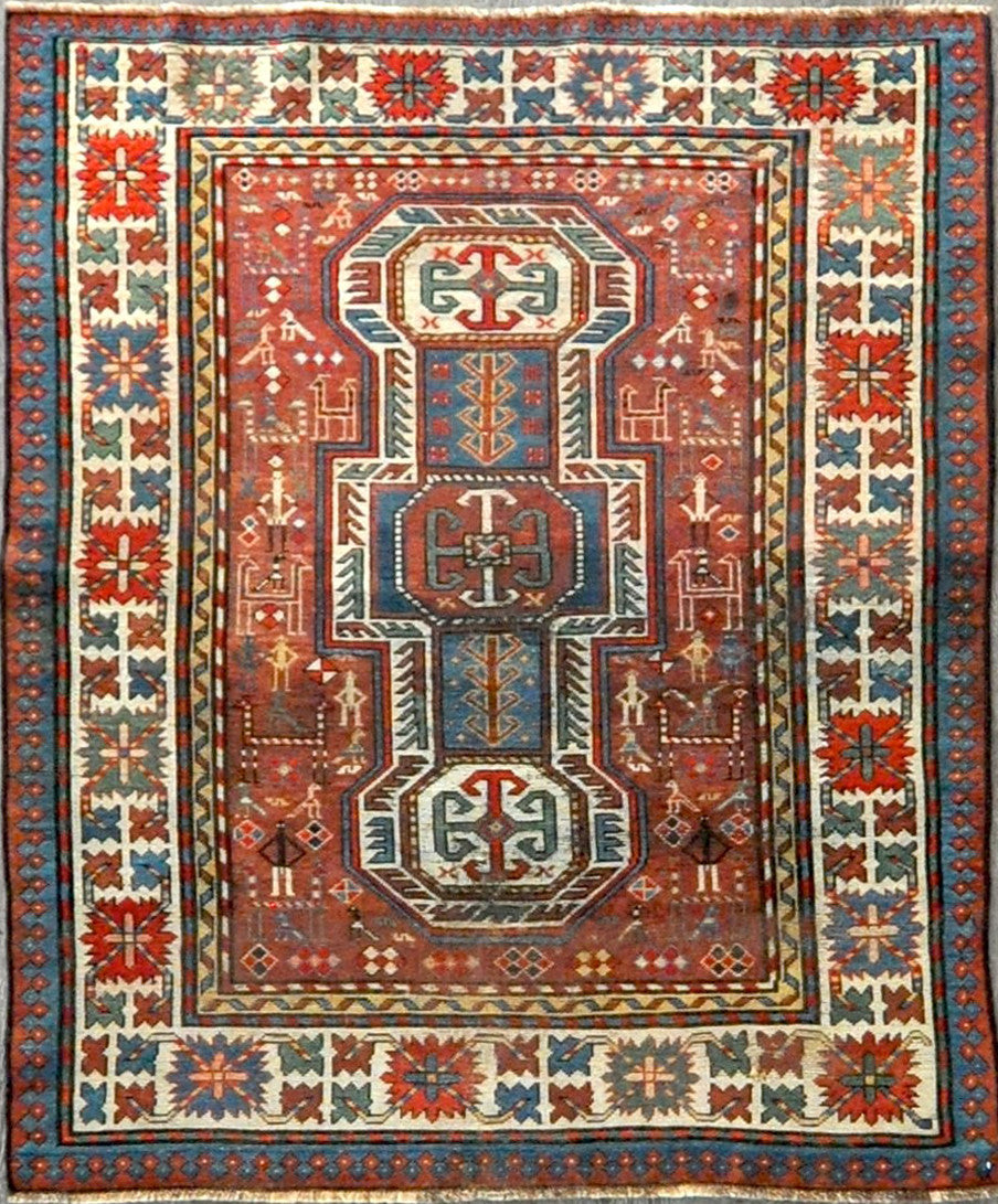 4.4x5.10 Persian antique kazak #26837