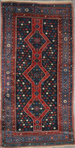 4.3x8.2 antique persian Kazak  #24324