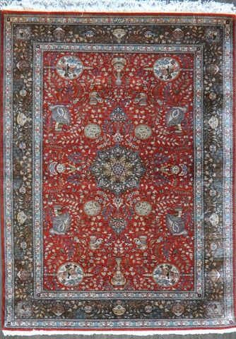 4.6x6.6 persian qum silk #57280 Sold