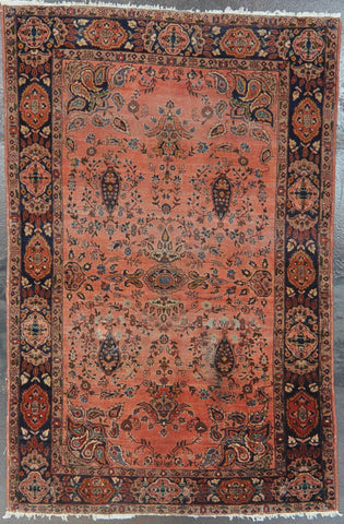4.2x6.5 antique farahan wool persian #28229