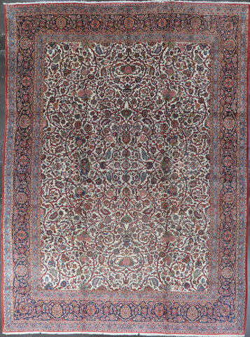10.8x14.3 Antique persian kashan dabir #86603
