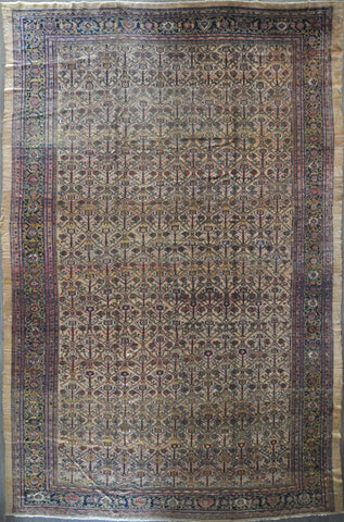 13x20 antique 1880's bakhshyeshe camel hair #84002