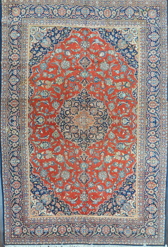 11.8x17.2 persian antique kashan wool #35921