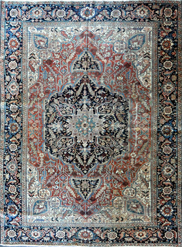 9.6x12.7 antique persian heriz #30785