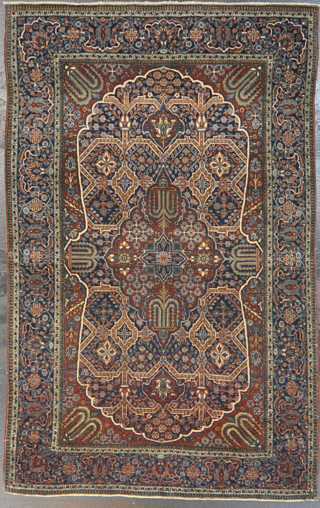 antique mohtasham kashan 4.3 x 6.9 wool #37828