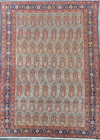 persian senneh 8.7 x 11.10 wool antique #34375