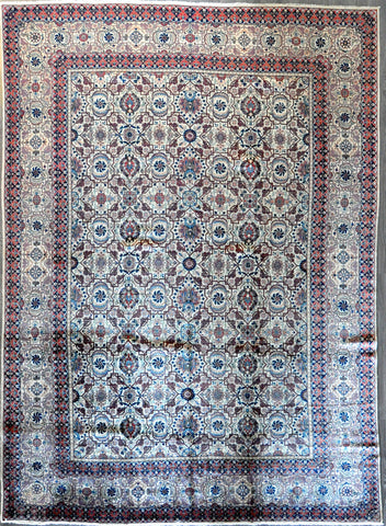 10.3x14.2 antique persian kashan Dabir  #27722