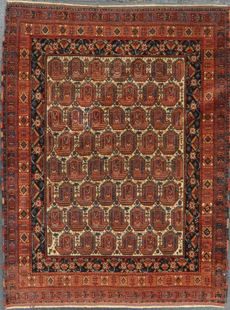 3.6x4.7 pesian antique Afshar wool #66596