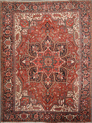 9.2x12.3 Antique persian heriz  #83562