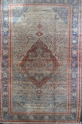 13.9x21.7 mohtasham kashan antique Circa:1870's wool #75959
