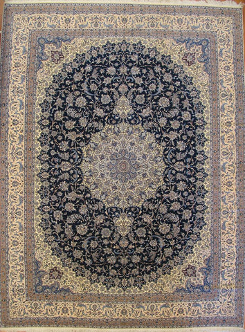 Persian nain-rug-1900-medallion-pattern-10.7x14