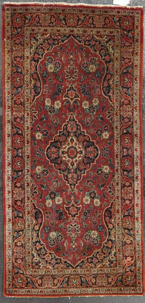 2.3x4.9 antique persian kashan wool #89907