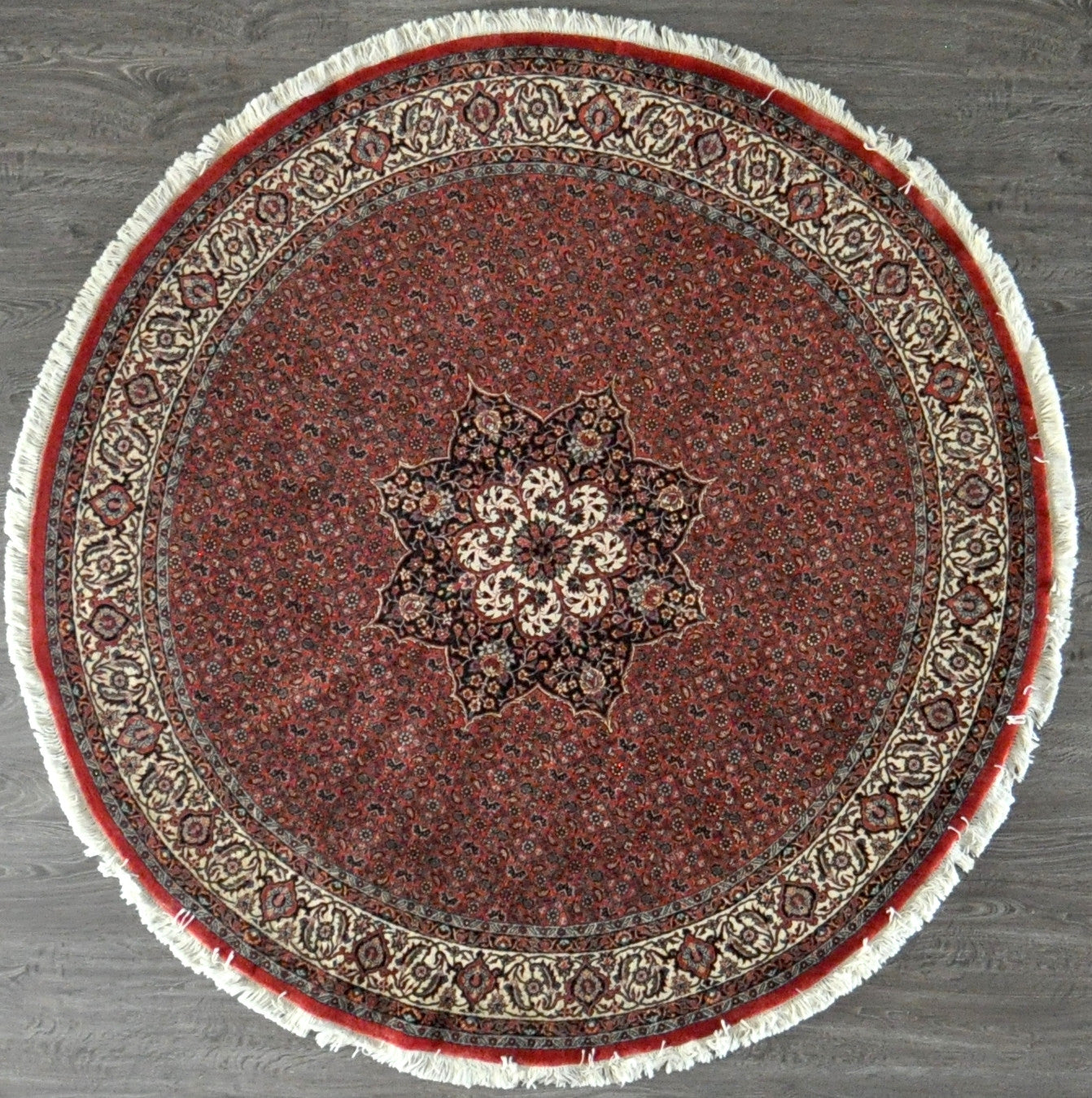 6.9x6.9 persian bijar round wool silk #46004