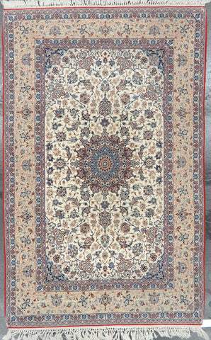 4.10x7.9 persian antique isfahan wool #83096