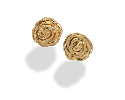 Rose Stud Earring 14K Yellow Gold- large