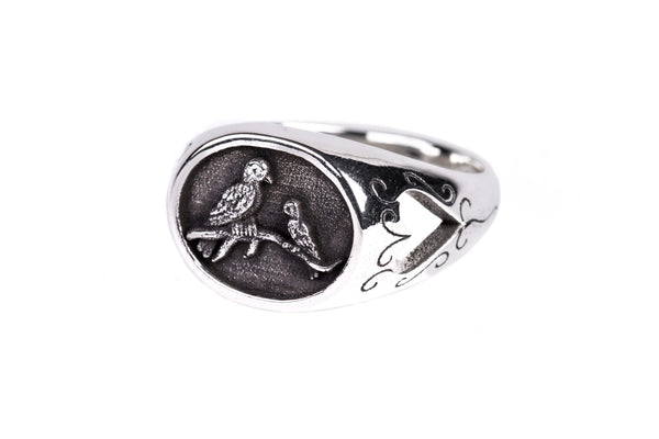 Signet Sterling Silver Bird Ring