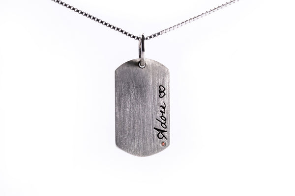 "4ece3d75fec6b Ronchelle ""Adore"" Dog Tag Sterling Silver Double Sided Pendant and Chain"
