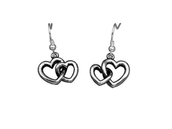 BE GRATEFUL Earrings - Double Hearts