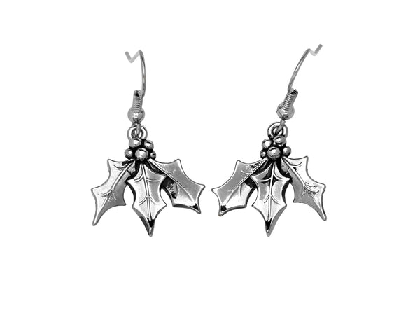 BE MERRY Earrings - Holly Leaves
