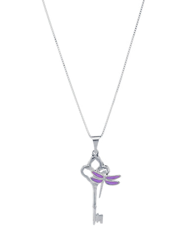 Key and Enameled Sterling Silver Dragonfly Pendant