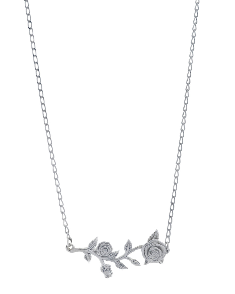 Rose Vine Sterling Silver Bar Necklace