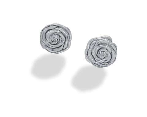 Rose Stud Earring Sterling Silver- large