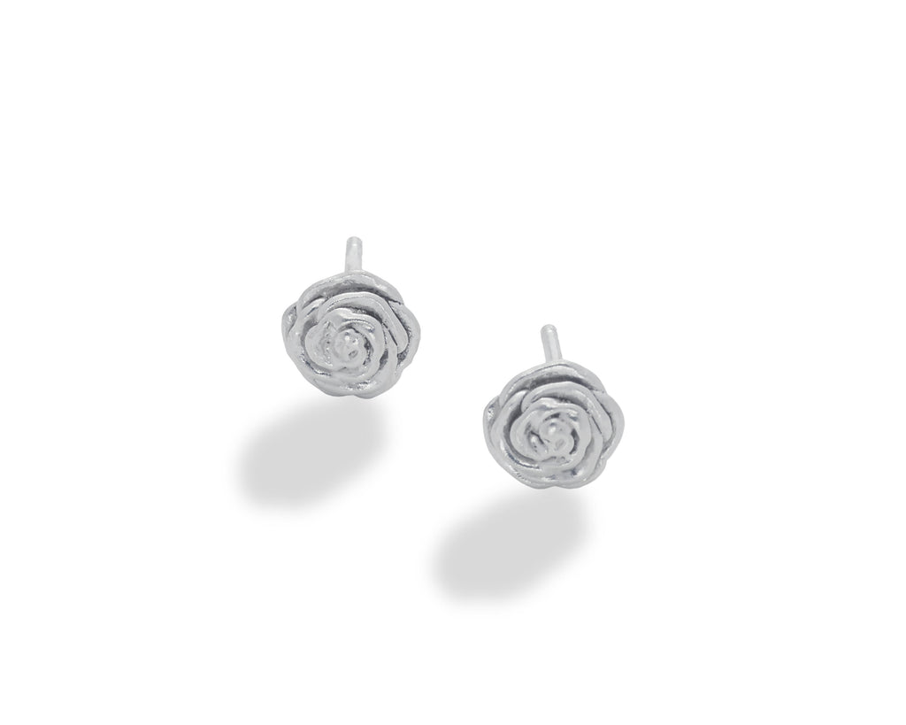 Rose Stud Earring Sterling Silver- small