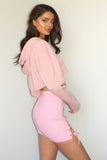 Pink Zipper detailed hoodie crop top