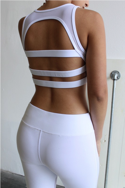 White Ladder back sports Bra