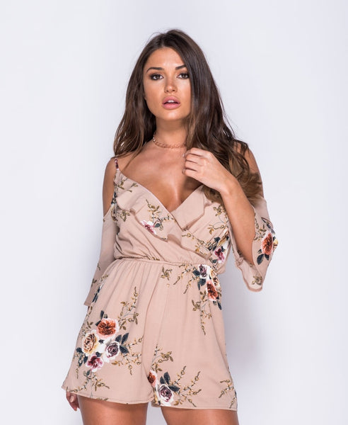 Boohoo Floral Cold Shoulder Romper
