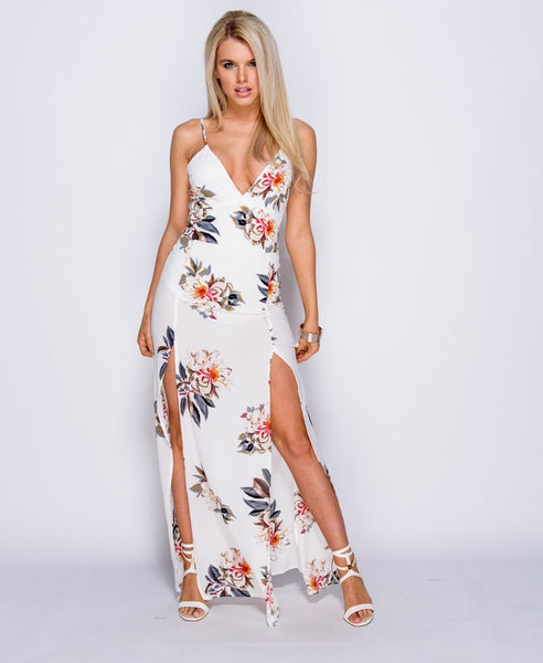 Amelia Floral Thigh Split Maxi Dress