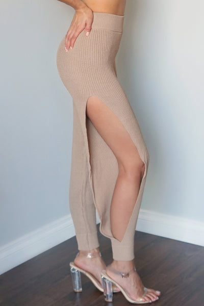 Taupe Side Slit Knitted Pants