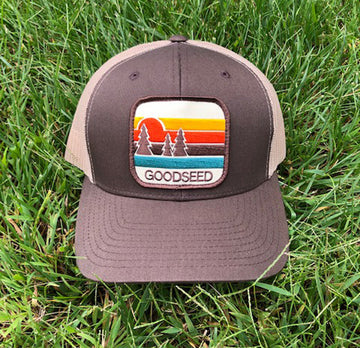 Pacific Pines Trucker Hat Brown and Tan