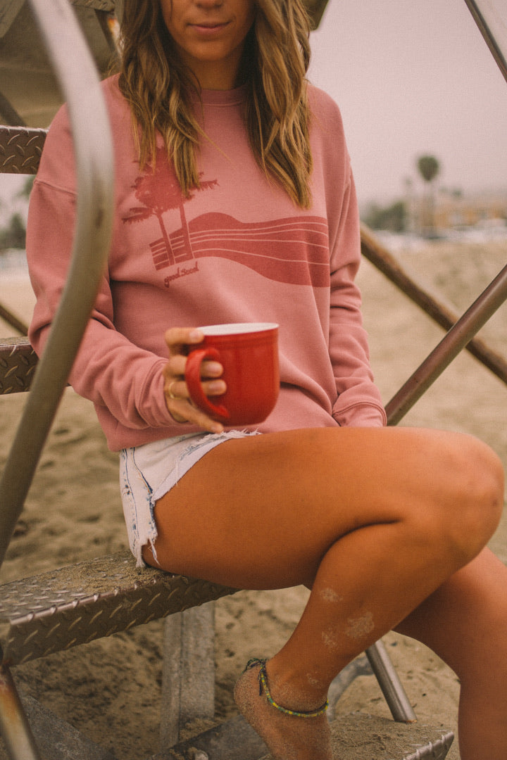 Palm Sunset sweatshirt mauve