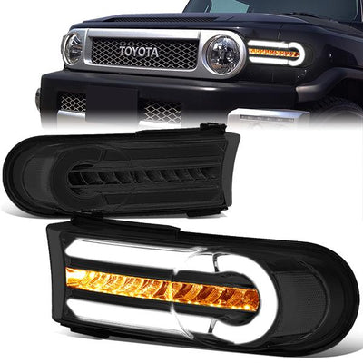 PAIR LED DRL+SEQUENTIAL SIGNAL BUMPER LIGHT SMOKED//CLEAR FOR 07-14 FJ CRUISER