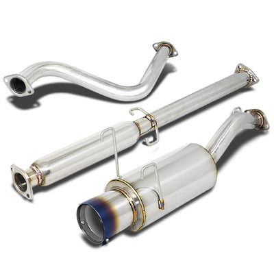 """4/""""TIP STAINLESS STEEL CATBACK+SILENCER+PIPE EXHAUST FOR 93-97 HONDA DEL SOL EH6"""
