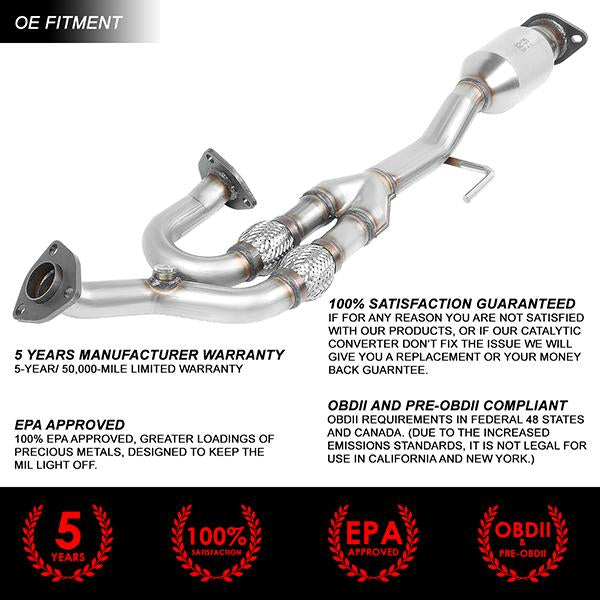 04-09 Nissan Quest Maxima Altima V6 Catalytic Converter Exhaust Manifold -  Stainless Steel