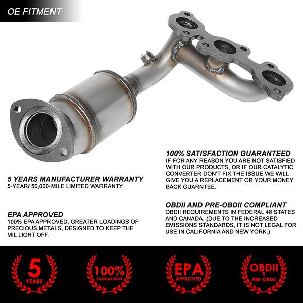 DNA MOTORING OEM-CONV-042 Left Position Factory Style Catalytic Converter Exhaust Manifold