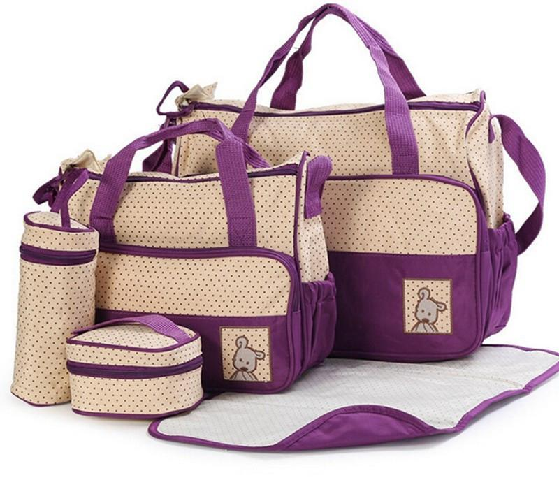 5pcs Multi-function Diaper Bag Set