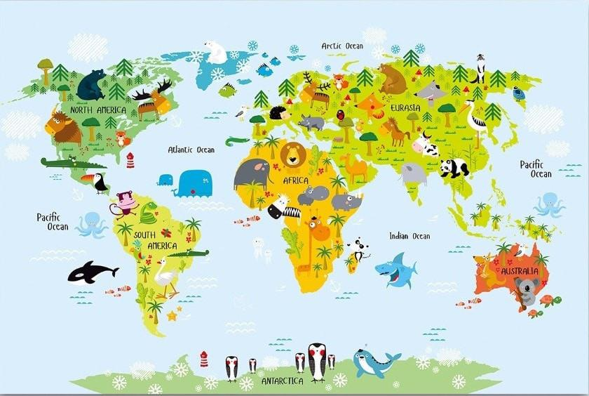 Animals World Map Canvas Watermelon Warehouse Watermelon Warehouse