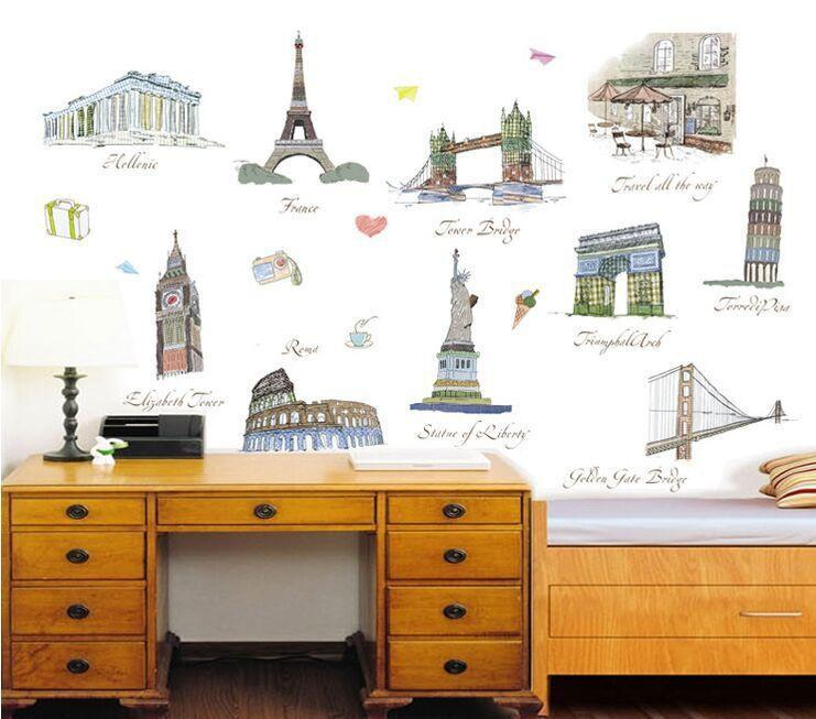 Landmark Buildings Wall Sticker-Watermelon Warehouse