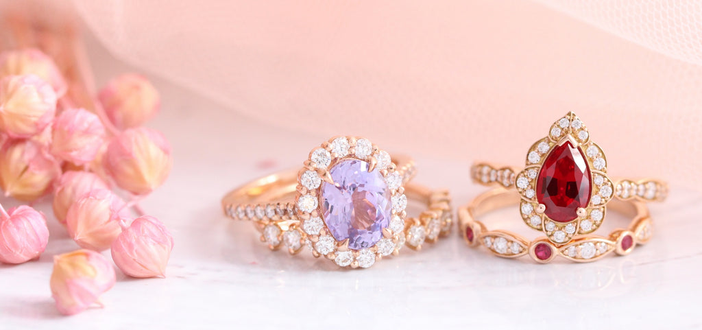 Rose gold engagement rings, diamond wedding bands, stacking ring bridal sets, one of a kind rings La More Design Jewelry