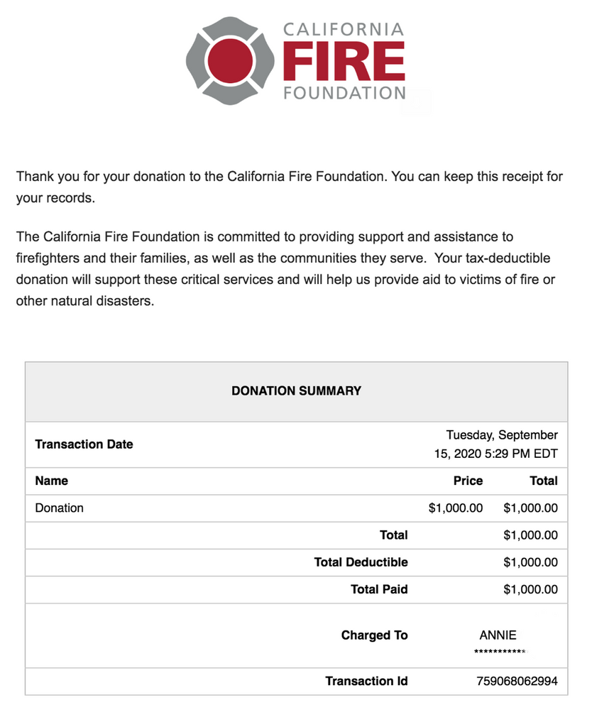 donation to The California Fire Foundation