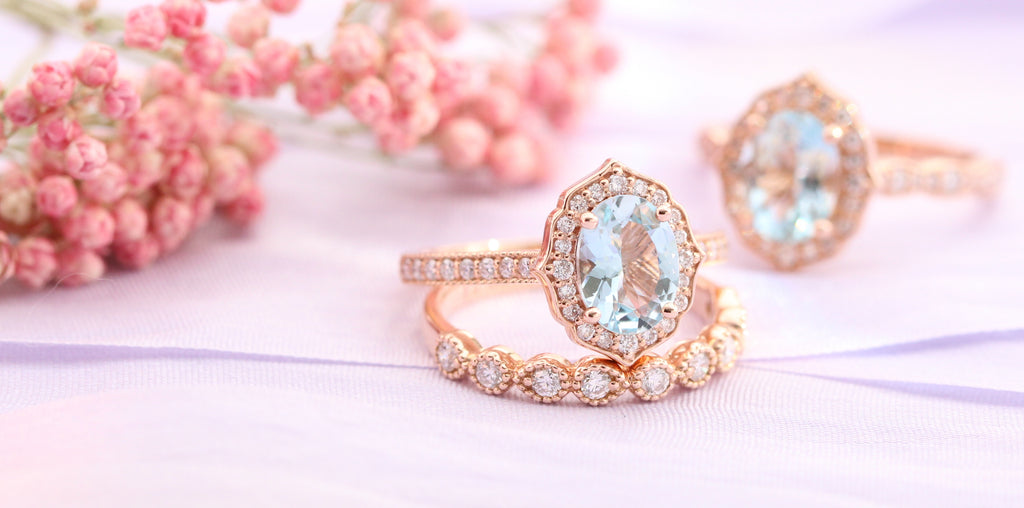 Vintage floral engagement ring and bridal set with moissanite, morganite or aquamarine by la more design