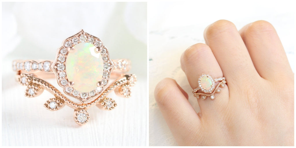 Vintage floral opal engagement ring rose gold bridal set with curved leaf diamond wedding band by la more design jewelry